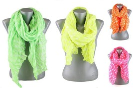 New Neon Polka Dot Fashion Winter Scarf Pink Green Orange Yellow #SCD142... - $11.93 CAD