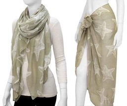 New TAUPE BEIGE Starfish Sea Ocean Animal Sheer Vintage Inspired Scarf S... - $6.62 CAD