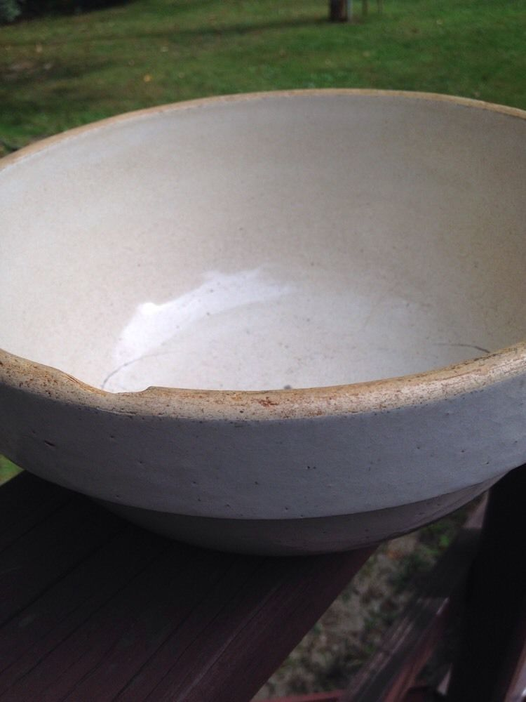 "Antique Vintage Stoneware Red Wing White Bowl 10"" Dia 5"" Tall Primitive Issues"
