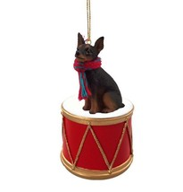 MINIATURE PINSCHER MIN PIN BLACK DRUM DOG CHRISTMAS ORNAMENT HOLIDAY Fig... - $15.75