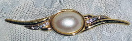 """Vintage Monet Faux Pearl Brooch Pin 2 7/8"""" Long  Gold Tone w/Rhinestone Accents - $18.79"""