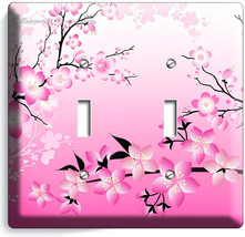 Japanese Pink Sakura Cherry Flowers Blossom Double Light Switch Wall Plate Cover - $10.79