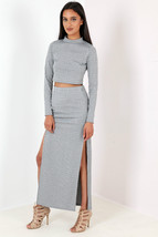New Ladies Ribbed split side maxi skirt grey Size 8-14 UK - $10.61