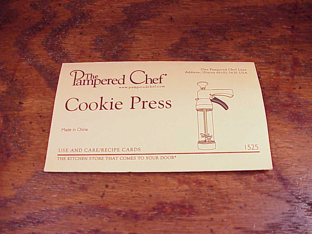 pampered chef cookie press 1525 instruction manual
