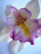 Hawaii Bridal Wedding Party Orchid Flower Hair Clip ~ WHITE LT PURPLE (Q... - €8,85 EUR