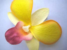 Hawaiian Hawaii Bridal Wedding Party Orchid Flower Hair Clip ~ YELLOW PU... - €5,87 EUR