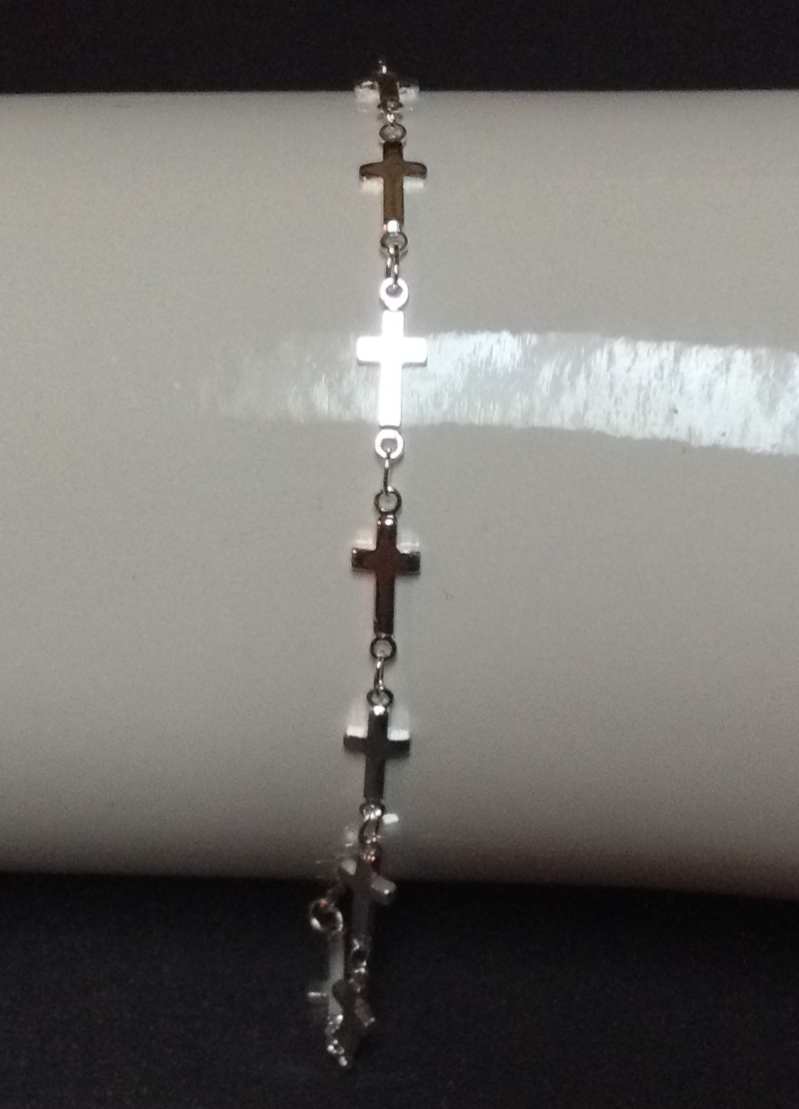 "Sterling Silver Cross Bracelet NWT 7"" 925 Stamped Free Shipping"