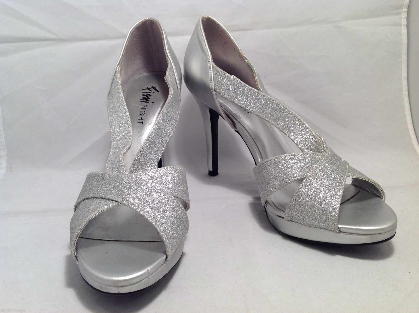 FIONI Night Womens Silver Sparkle High Heels Open Toe Pumps Sandals Size 8.5-9