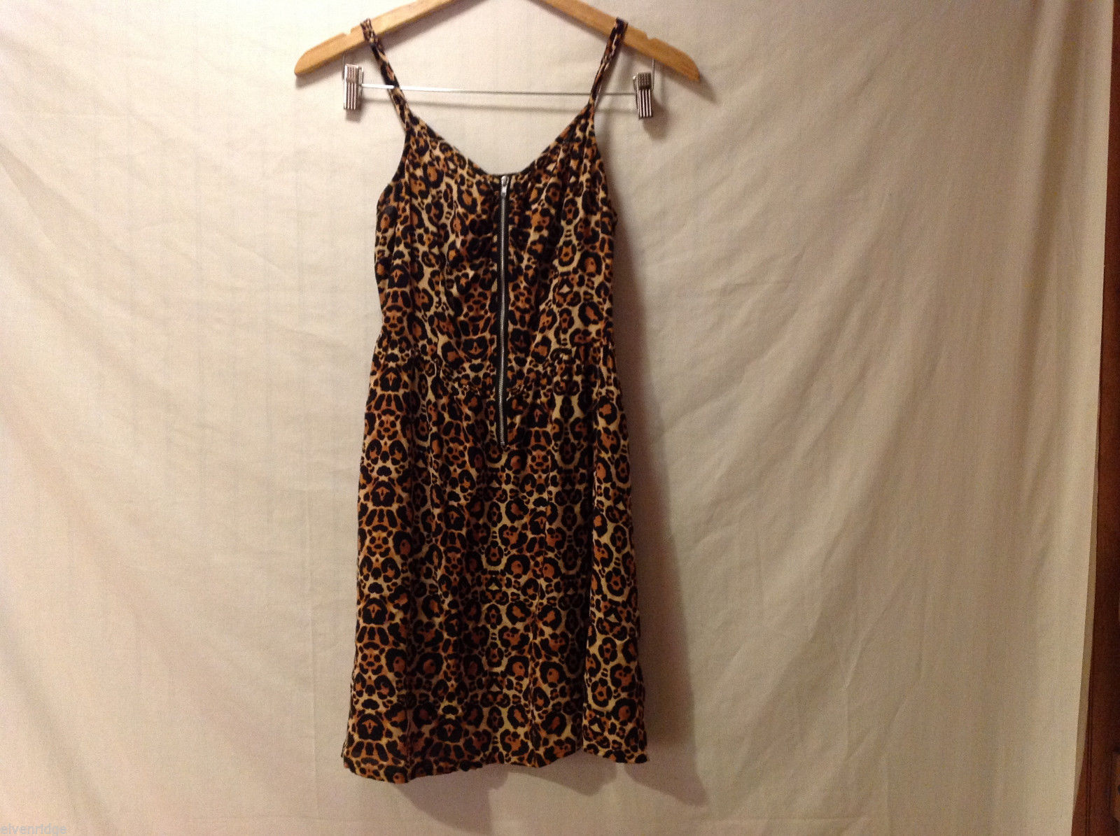 DIVIDED by H&M Cheetah Printed Spaghetti Strap Dress Front Zipper, size 6