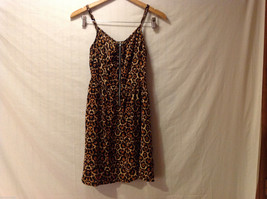 DIVIDED by H&M Cheetah Printed Spaghetti Strap Dress Front Zipper, size 6 image 1