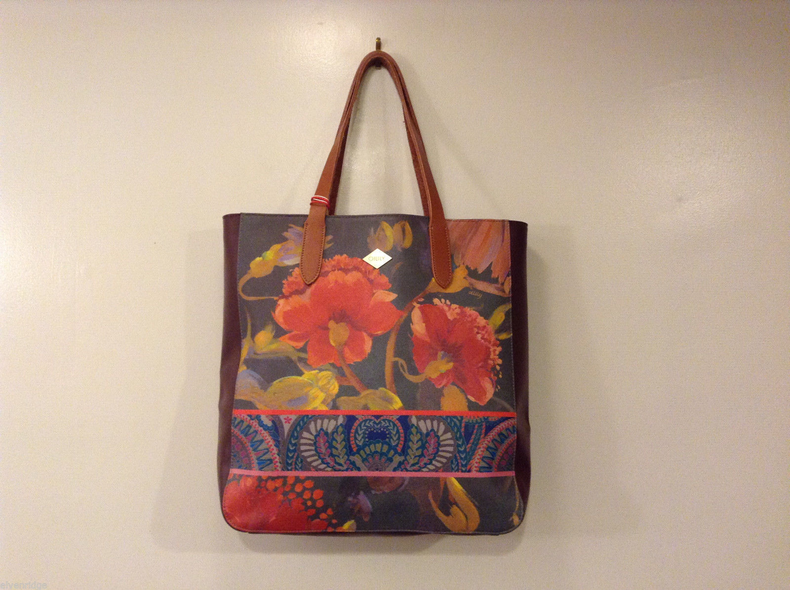 Oilily Leather Tote Painted Flowers Shopper Handbag - Multicolor - NEW