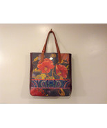 Oilily Leather Tote Painted Flowers Shopper Handbag - Multicolor - NEW - $247.50
