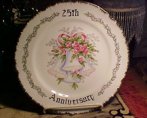 Royal Crown 25th Anniversary Dinner Plate-SILVER RIM Trim,BLUE Bells,Flowers-EUC