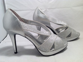 FIONI Night Womens Silver Sparkle High Heels Open Toe Pumps Sandals Size 8.5-9 image 2