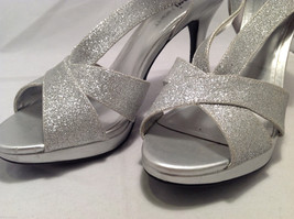 FIONI Night Womens Silver Sparkle High Heels Open Toe Pumps Sandals Size 8.5-9 image 5