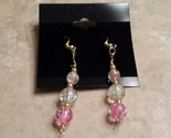 Pink cracked glass earrings  1 thumb155 crop
