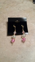 Sparkly Pink Cracked Glass Dangle Wire Earrings - $8.00