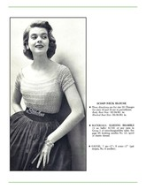 1950s Fitted Scoop Neck Sweater Blouse, Lacy Stripes - Knit pattern (PDF... - $3.75