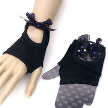 NEW BLACK POLKA DOT CHECKERED BOW PUNK ROCK GOTH FINGERLESS KNITTED GLOV... - $11.93 CAD