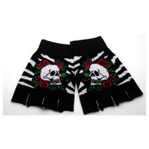 Black & White Stripes Skull & Roses Design Punk Rock Goth Fingerless Gloves - $10.60 CAD