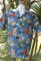 NEW Blue Vintage Design Hibiscus Hawaiian Men Aloha Shirt ~ MADE IN HAWAII - $26.99