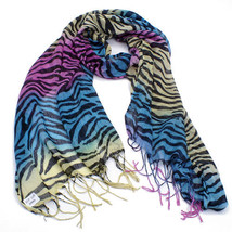 NEW MULTI COLOR ZEBRA ANIMAL PRINT SCARF PUNK HIPPIE WINTER NECK WRAP #S... - $14.98 CAD