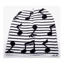 PUNK ROCK WINTER SNOWBOARDING HAT ~ STRIPED BLACK WHITE MUSIC NOTES BEAN... - $5.90 CAD