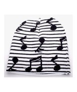 PUNK ROCK WINTER SNOWBOARDING HAT ~ STRIPED BLACK WHITE MUSIC NOTES BEAN... - £3.44 GBP