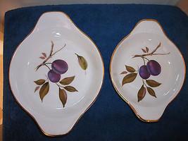 Royal Worcester Evesham Gold Porcelain 2 Au Gratin Dishes Servers Baking Plates  - $28.04