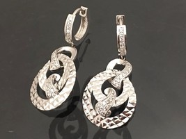 Vintage 18K 750 Solid White Gold Natural White Sapphire Earrings  - $755.00