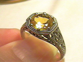 Vintage round Silver RING 6 citrine FILIGREE old REAL STERLING  SMALL na... - £58.10 GBP