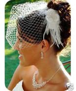 Birdcage Veil & Flower Feather Fascinator Brida... - $32.40