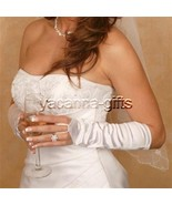 Fingerless Bridal Gloves Satin Below the Elbow ... - $16.76