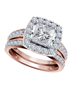 14k Rose Gold Over Vintage Antique White Diamond Engagement Ring Bridal Set - $76.65