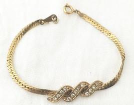 VINTAGE AVON GOLD PLATED 1980s RHINESTONE CHAIN... - $10.00
