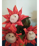 Set of 3  Bloom Buddies  Flowers Hand Sewn Floral Arrangements and Glass... - $36.62