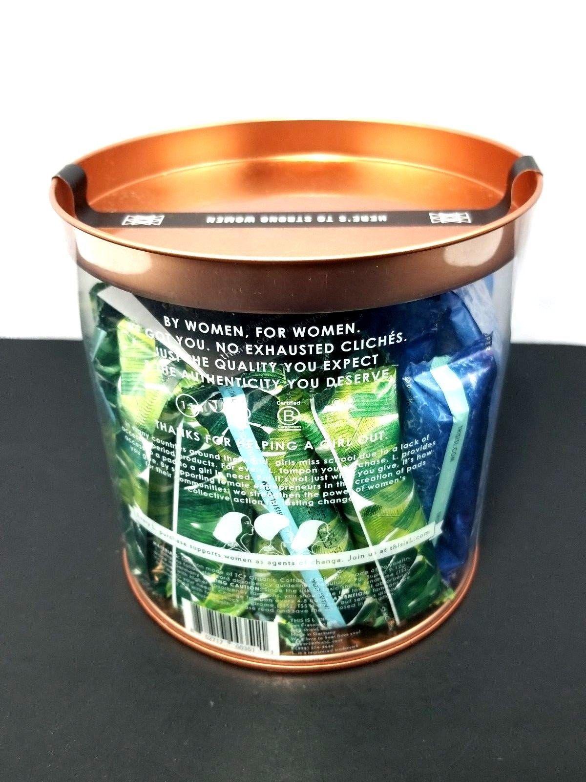 L Organic Cotton Tampons with Sleek Plastic Applicators Regular + Super New