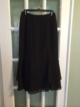 Adrianna Papell Skirt 6P Black Evening Essentials Tiered Long Lined Chiffon - $37.39