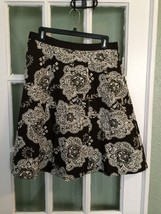 TALBOTS Skirt Flare A-line Brown White Floral 100% Cotton Ribbon Waist Sz 10 - $28.04