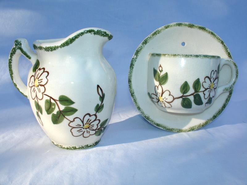 Primary image for Wall Pocket Set Cup and Saucer and Pitcher Vintage Green Flowers Ceramic
