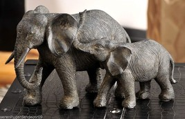 Mother & Baby Elephant with Textural Detailing Black Polystone Statue NEW