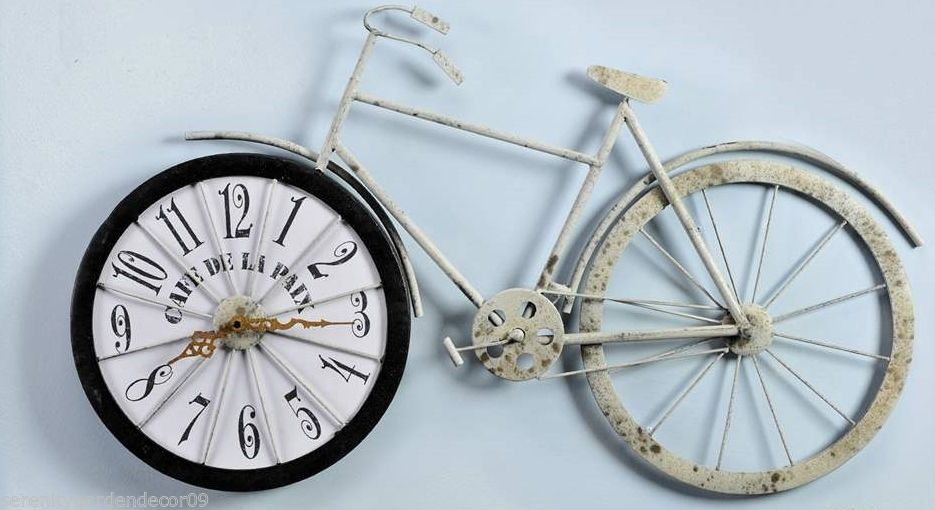 "31.3"" Long Bicycle Design Wall Clock Metal with Weathered Cream Coloring NEW"