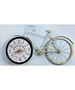 "31.3"" Long Bicycle Design Wall Clock Metal with Weathered Cream Coloring... - $121.19"
