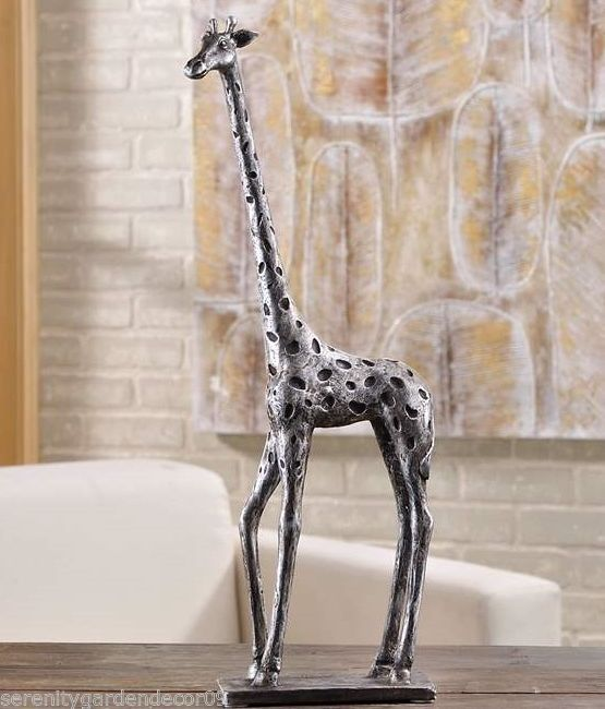 "17.9""  Silver & Black Standing Giraffe Figurine Home Decor Poly Resin NEW"