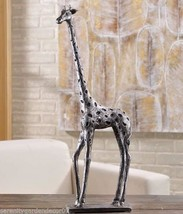 "17.9""  Silver & Black Standing Giraffe Figurine Home Decor Poly Resin"