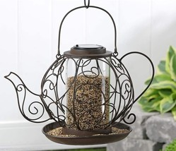 "12"" high Solar Lighted Iron Teapot Design Birdfeeder Brown Iron"