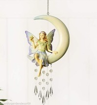 Fairy Sitting in a Crescent Moon with Gemstone Design Mobile & Jute Rope Hanger - $39.59