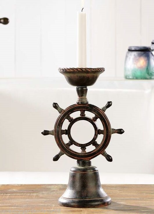 "12.2"" Nautical Ship Wheel Tapered Candlestick Holder Poly Resin NEW"