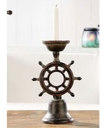 "12.2"" Nautical Ship Wheel Tapered Candlestick Holder Poly Resin - £41.12 GBP"