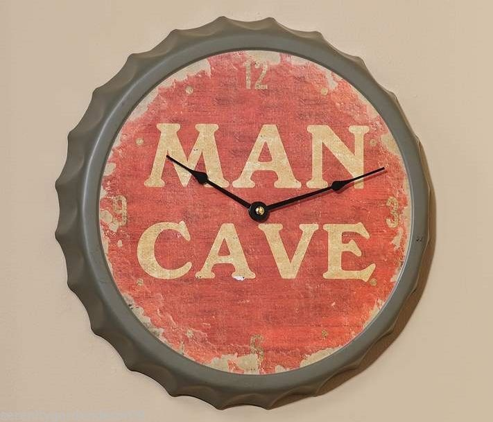 "13"" Weathered Look Painted Metal MAN CAVE Bottle Cap Design Wall Clock"